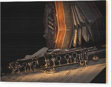 The Clarinet And The Concertina Wood Print by Ann Garrett