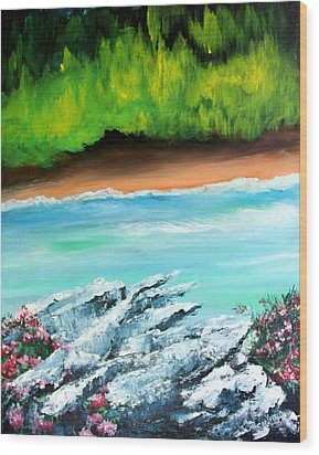 Wood Print featuring the painting The Cliff by Ellen Canfield