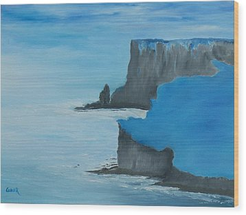 Wood Print featuring the painting The Cliffs Of Moher by Conor Murphy