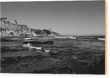 The Cliffs Of Pismo Beach Bw Wood Print