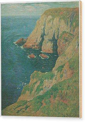 The Cliffs Of Stang Ile De Croix Wood Print by Henry Moret