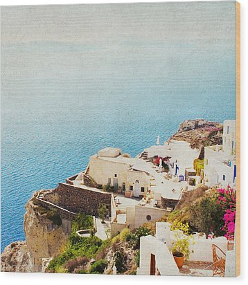 The Cliffside - Santorini Wood Print by Lisa Parrish