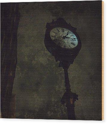 The Clock Of Greenpoint Wood Print by Natasha Marco