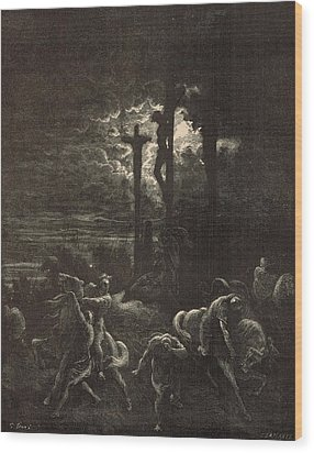 The Close Of The Crucifixion Wood Print by Antique Engravings
