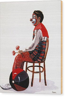 Wood Print featuring the painting The Clown, Intermission by Joyce Gebauer