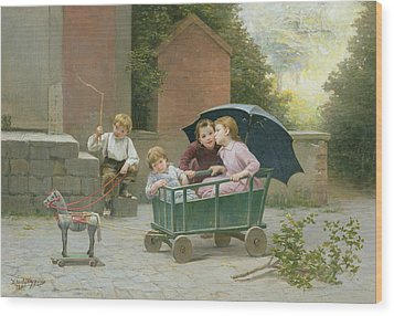 The Coach Ride Wood Print by Charles Bertrand DEntraygues