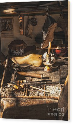 The Cobbler's Shop Wood Print by Terry Rowe