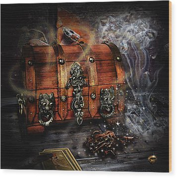 The Coffer Of Spells Wood Print by Alessandro Della Pietra