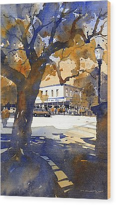 The College Street Oak Wood Print by Iain Stewart
