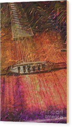 The Color Of Music Digital Guitar Art By Steven Langston Wood Print by Steven Lebron Langston
