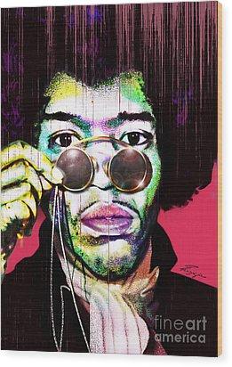 The Color Of Rock - Jimi Hendrix Series Wood Print by Reggie Duffie