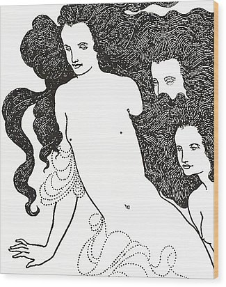 The Comedy Of The Rhinegold Wood Print by Aubrey Beardsley