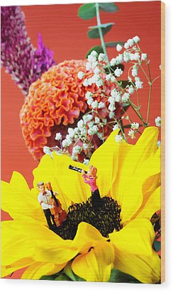 The Concert In The Flower Miniature Art Wood Print by Paul Ge