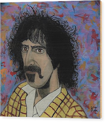The Conductor Frank Zappa Wood Print by Ken Zabel