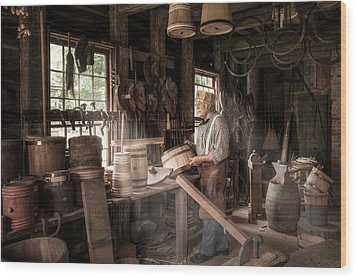Wood Print featuring the photograph The Cooper - 19th Century Artisan In His Workshop  by Gary Heller