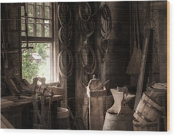 Wood Print featuring the photograph The Coopers Window - A Glimpse Into The Artisans Workshop by Gary Heller