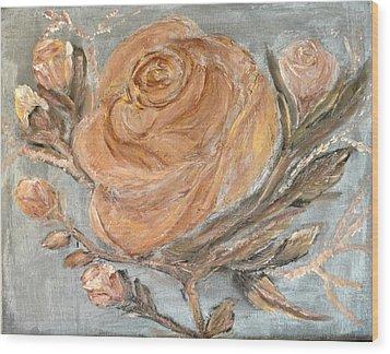The Copper Rose Wood Print by Corina Lupascu