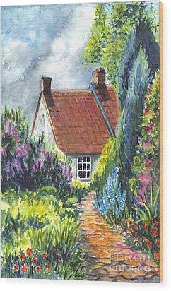 The Cottage Garden Path Wood Print by Carol Wisniewski