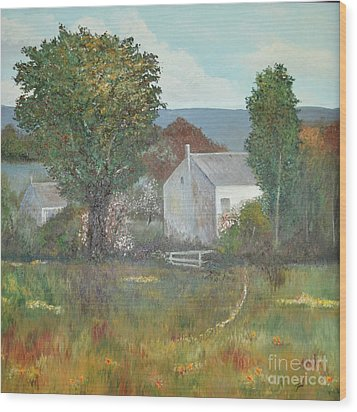 Wood Print featuring the painting The Country House by Suzette Kallen