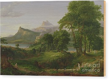 The Course Of Empire   The Arcadian Or Pastoral State Wood Print by Thomas Cole