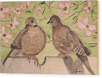 The Courtship Wood Print by Angela Davies