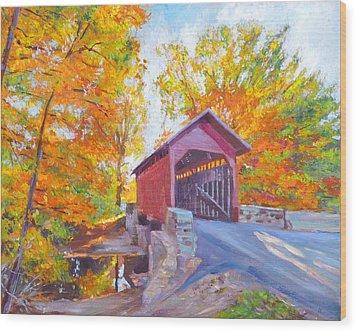 The Covered Bridge Wood Print by David Lloyd Glover