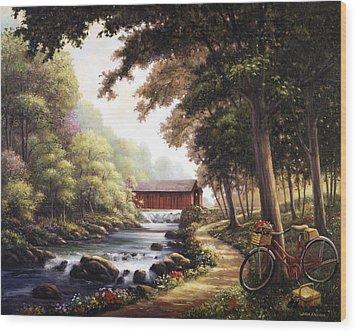 The Covered Bridge Wood Print by John Zaccheo