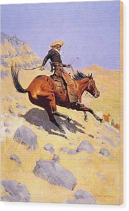 The Cowboy Wood Print by Fredrick Remington
