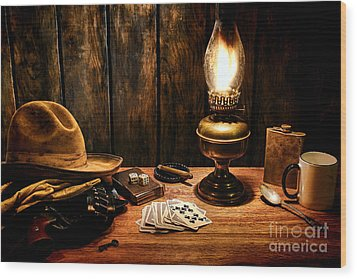 The Cowboy Nightstand Wood Print by Olivier Le Queinec