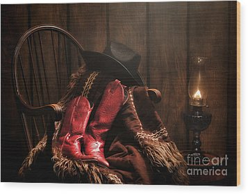 The Cowgirl Rest Wood Print by Olivier Le Queinec