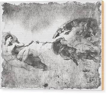 The Creation Of Adam Wood Print by Stefano Senise