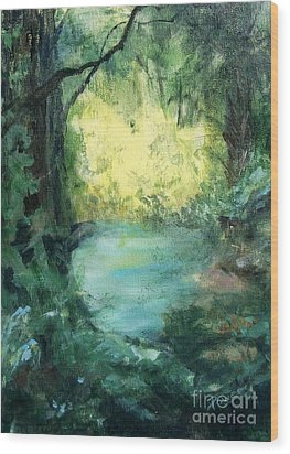 Wood Print featuring the painting The Creek by Mary Lynne Powers