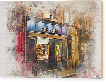 The Creperie Wood Print by Evie Carrier