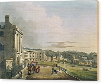 The Crescent, From Bath Illustrated Wood Print by John Claude Nattes