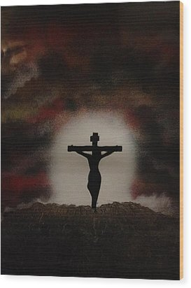 Wood Print featuring the painting The Cross by Michael Rucker