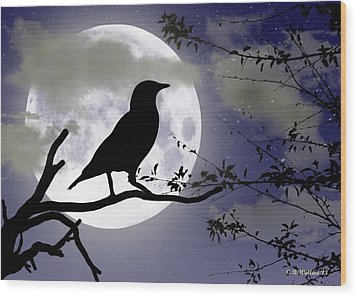 The Crow And Moon Wood Print by Brian Wallace