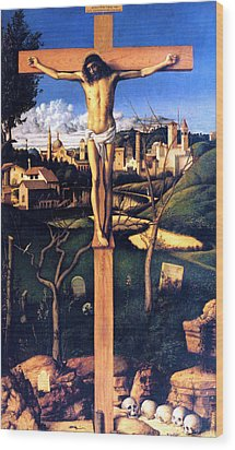 Wood Print featuring the painting The Crucifixion 1503 Giovanni Bellini by Karon Melillo DeVega