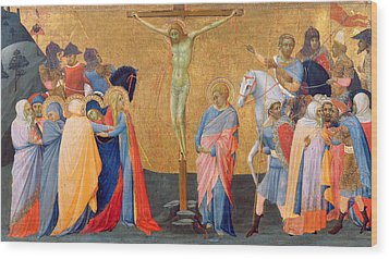 The Crucifixion Wood Print by Master of the Madonna of San Pietro of Ovila