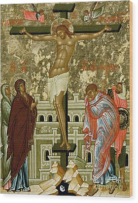 The Crucifixion Of Our Lord Wood Print by Novgorod School