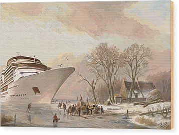 Wood Print featuring the painting The Cruiseboat by Nop Briex