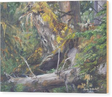 Wood Print featuring the painting The Crying Log by Lori Brackett