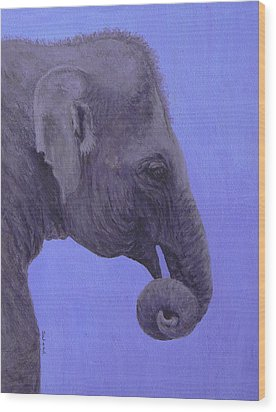 Wood Print featuring the painting The Curled Trunk by Margaret Saheed