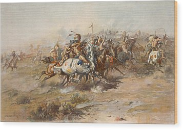 The Custer Fight  Wood Print by War Is Hell Store