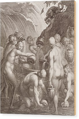 The Danaids Condemned To Fill Bored Vessels With Water Wood Print by Bernard Picart