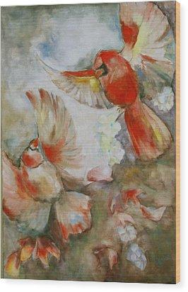 The Dance Of The Cardinals Wood Print by Susan Hanlon