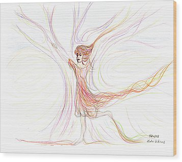 Wood Print featuring the drawing The Dancer by Lula Adams