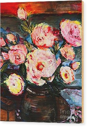 Wood Print featuring the painting The Dancer's Peonies by Helena Bebirian