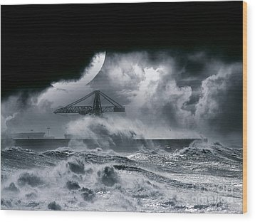 The Dark Storm Wood Print by Boon Mee