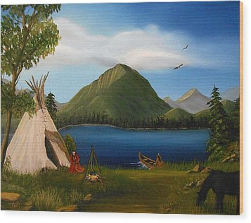 Wood Print featuring the painting Dawn Of Tohidu by Sheri Keith