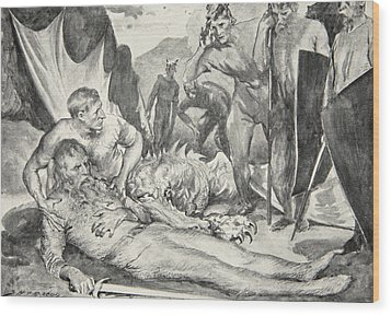 The Death Of Beowulf Wood Print by John Henry Frederick Bacon